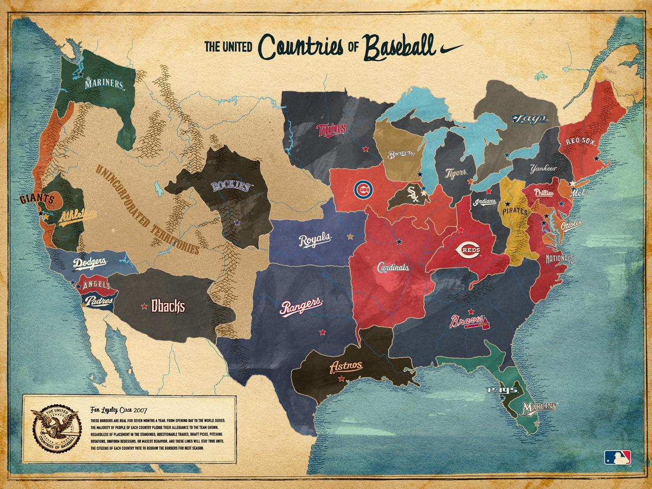 Geographic Territories Of MLB Teams Baseball Fever - Us baseball map