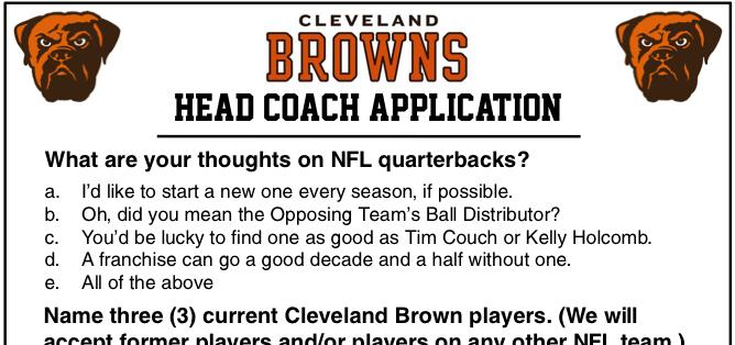 Cleveland Browns Head Coach Application Korked Bats