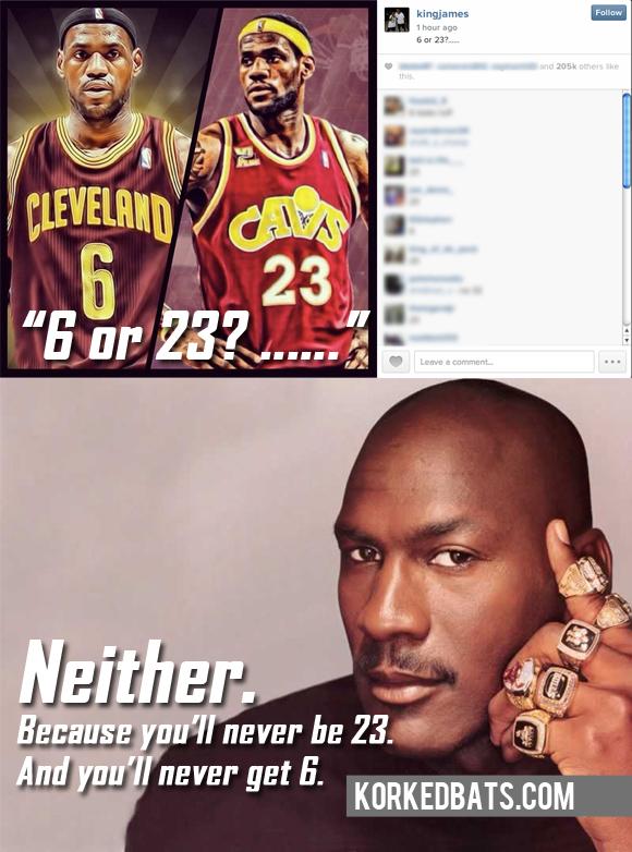 bae80d076b88 Michael Jordan Responds To LeBron James  Number Decision - Korked Bats