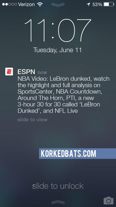 Realistic iPhone Notifications - ESPN 11 - Korked Bats