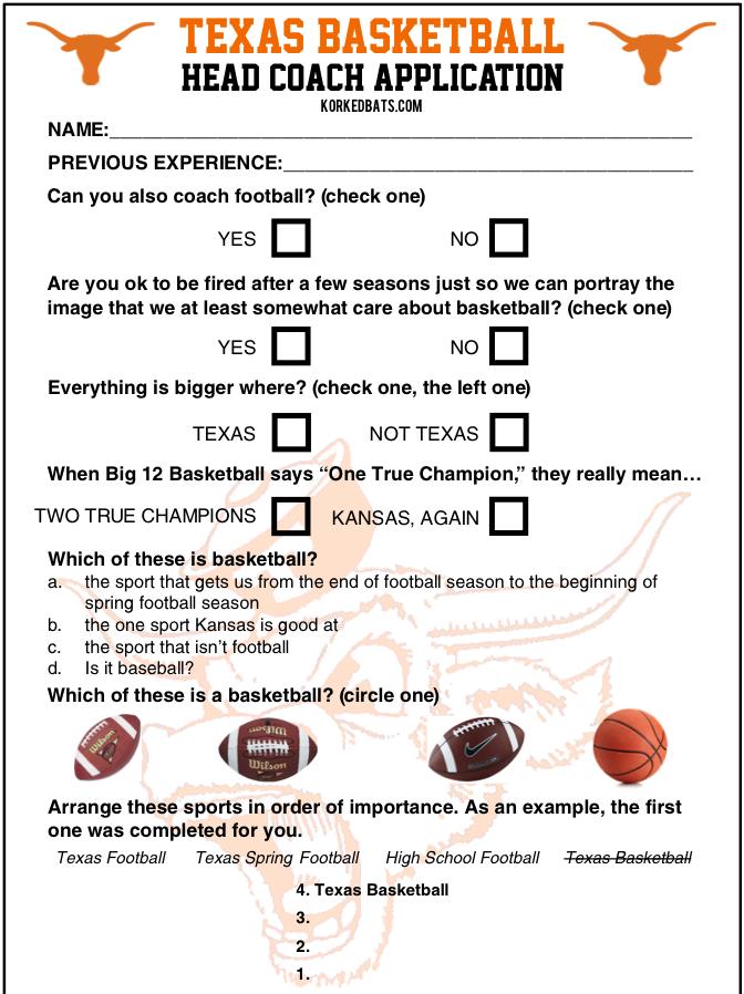 Texas Longhorns Basketball Head Coach Application - 1